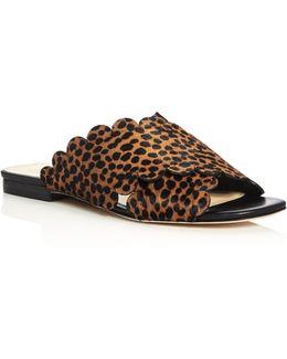 Ana Maria Cheetah Print Calf Hair Scalloped Slide Sandals
