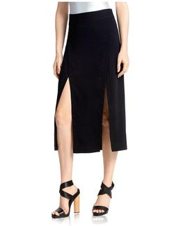 Double Slit Midi Skirt