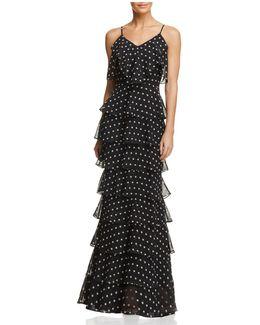 Dot-print Ruffle Gown