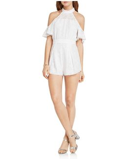 Cold-shoulder Lace Romper