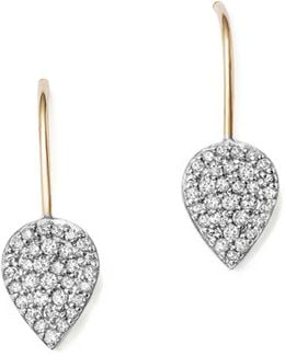 Sterling Silver And 14k Yellow Gold Pavé Diamond Teardrop Earrings