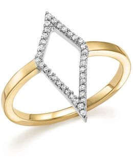 Sterling Silver And 14k Yellow Gold Pavé Diamond Cutout Ring