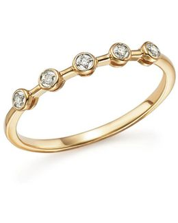 14k Yellow Gold Five Bezel Diamond Ring
