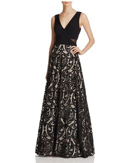 Patterned-skirt Gown