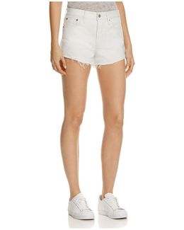 Wedgie Selvedge Cutoff Denim Shorts In Busted Chalk