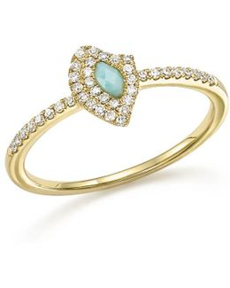 14k Yellow Gold Larimar Ring With Diamonds