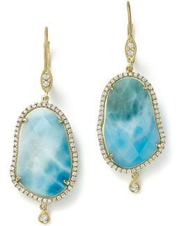 14k Yellow Gold Larimar Drop Earrings With Diamonds
