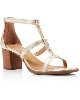 Julia Metallic Leather Studded T Strap Block Heel Sandals