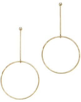 14k Yellow Gold Diamond Stud And Circle Drop Earring Jackets
