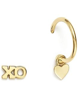 14k Yellow Gold Itty Bitty Mixed Xo Stud And Huggie Hoop With Heart Charm Earrings