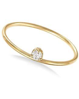 14k Yellow Gold Prong Set Diamond Ring