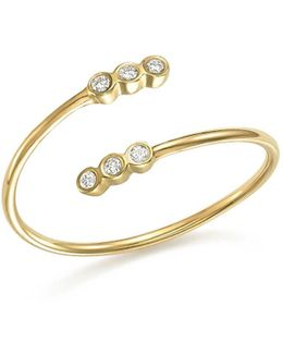 14k Yellow Gold Bypass Ring With Bezel Diamonds
