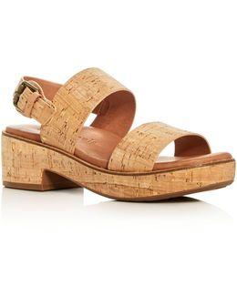 Talia Cork Platform Slingback Sandals