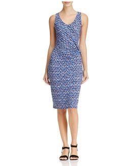 Triangle Print Twist Front Dress