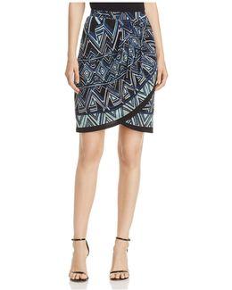 Beaming Print Faux-wrap Skirt