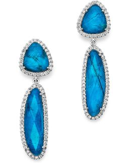 14k White Gold Chrysocolla Doublet And Diamond Dangle Earrings