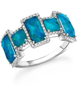 14k White Gold Chrysocolla Doublet And Diamond Ring