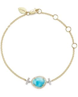 14k White And Yellow Gold Larimar And Diamond Bracelet