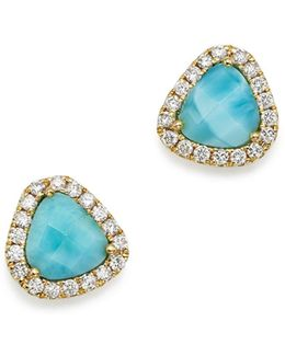 14k Yellow Gold Larimar And Diamond Stud Earrings