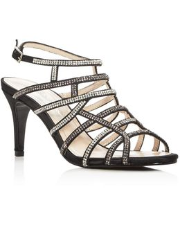 Harmonica Embellished Satin Caged High Heel Sandals
