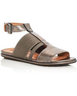 Ophelia Metallic T-strap Sandals