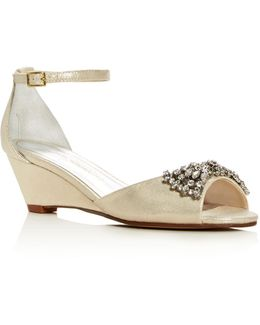 Hugh Metallic Embellished Wedge Sandals