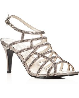 Harmonica Embellished Metallic Caged High Heel Sandals
