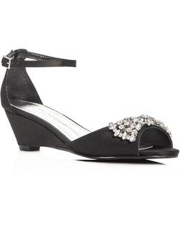 Hugh Embellished Satin Demi Wedge Sandals