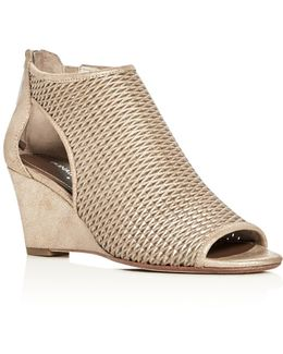 Jace Metallic Perforated Wedge Sandals