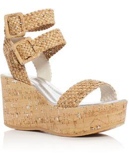 Cyndi Cork Ankle Strap Platform Wedge Sandals