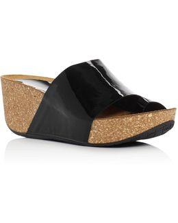 Ginie Patent Leather Platform Wedge Sandals