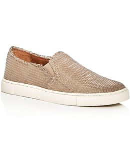 Ivy Woven Leather Slip-on Sneakers