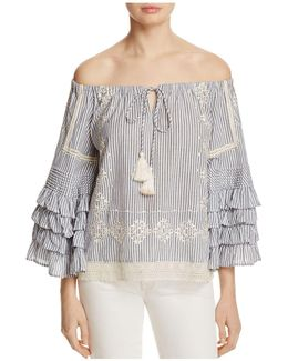 Off-the-shoulder Ruffle Stripe Top
