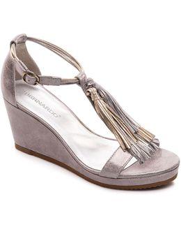 Khloe Metallic Tassel Wedge Sandals