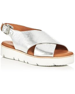 Kiki Metallic Crisscross Slingback Sandals