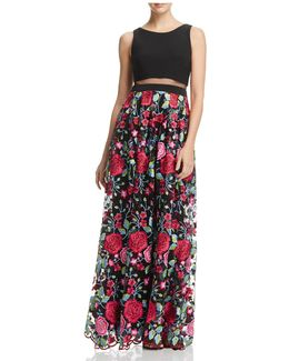Illusion-waist Floral-print Gown