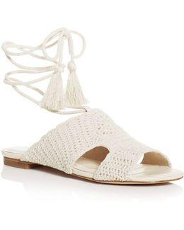 Fai Crochet Ankle Tie Sandals