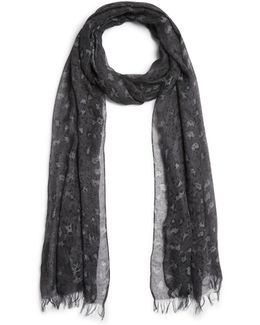 Abstract Skull Print Scarf