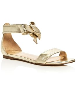 Carthe Metallic Leather Ankle Tie Sandals