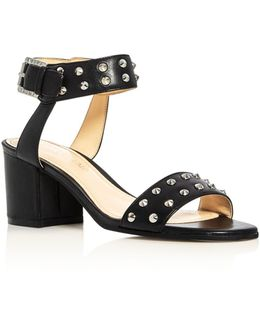 Itelonna Studded Ankle Strap Block Heel Sandals