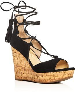 Hellan Ankle Tie Platform Wedge Sandals