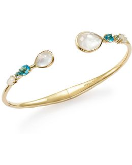 18k Yellow Gold Rock Candy Mixed Doublet Hinged Bangle In Raindrop