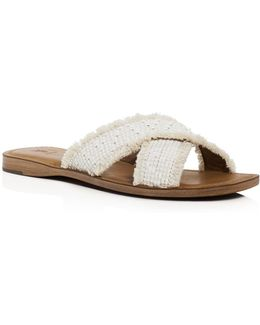 Hayley Frayed Raffia Crisscross Slide Sandals