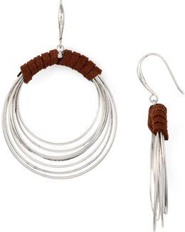 Leather Hoop Drop Earrings