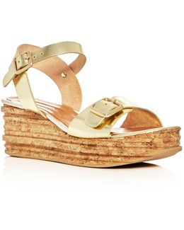 Belle Metallic Platform Wedge Sandals