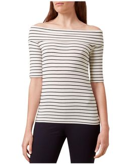 Gail Striped Bardot Off-the-shoulder Top