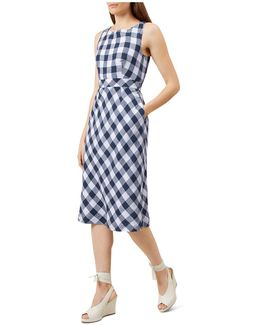 Myra Gingham-print Linen Dress