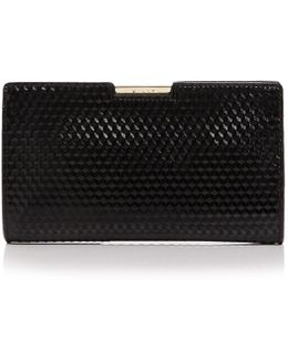 Geo Debossed Frame Small Patent Leather Clutch