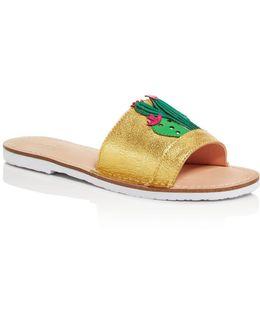 Iguana Metallic Slide Sandals