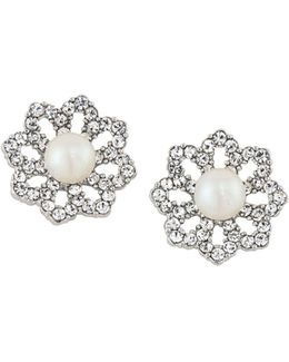 Faux Pearl Flower Clip-on Earrings